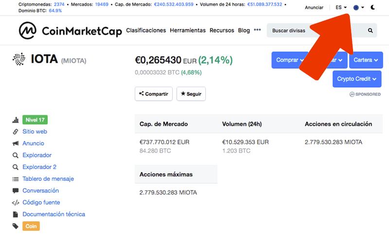 Cotización IOTA en CoinMarketCap