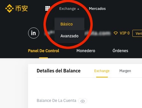 Ir al exchange de Binance